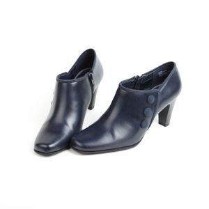 """Rialto Navy Blue 3"""" Heels Booties Vegan Size 7.5"""